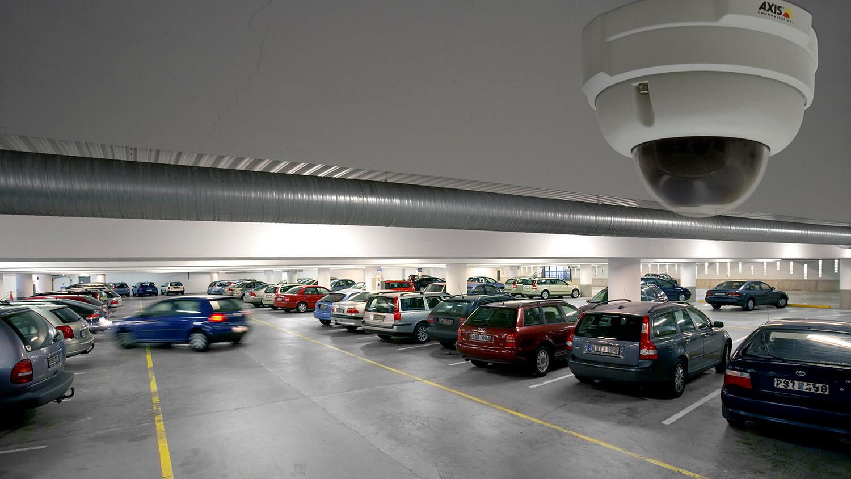 Video surveillance in a parking garage.