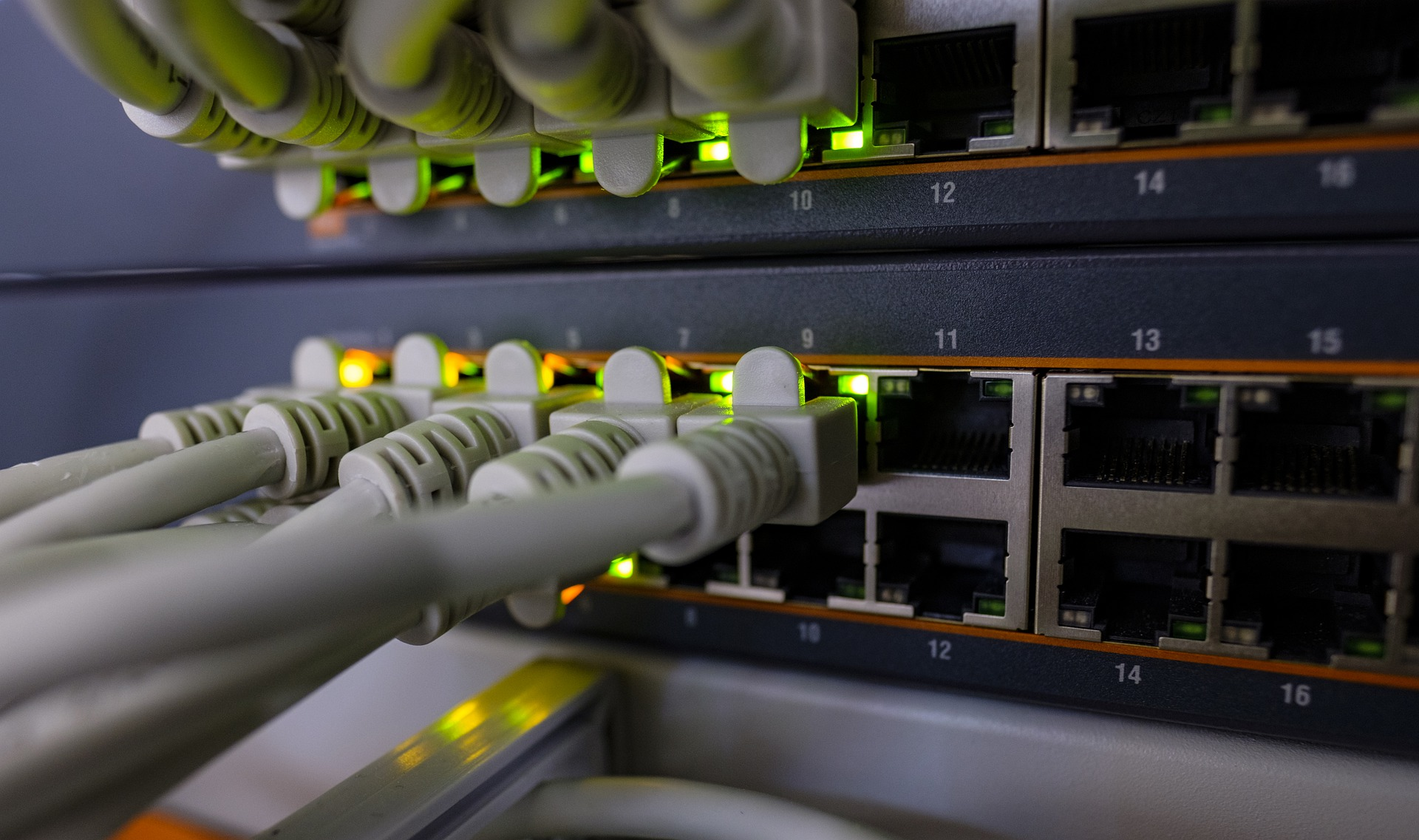 Ethernet cords pulled into Network