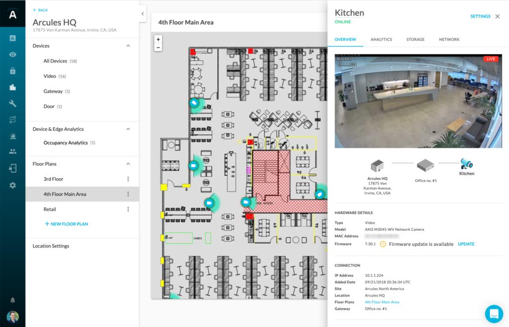 Arcules Floor Plans to Locate cameras